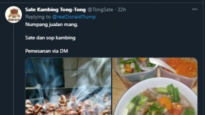 Dari Sate Hingga Sarang Madu, Cuitan Trump Dipenuhi Orang Promosi Makanan. (Twitter/realDonaldTrump)