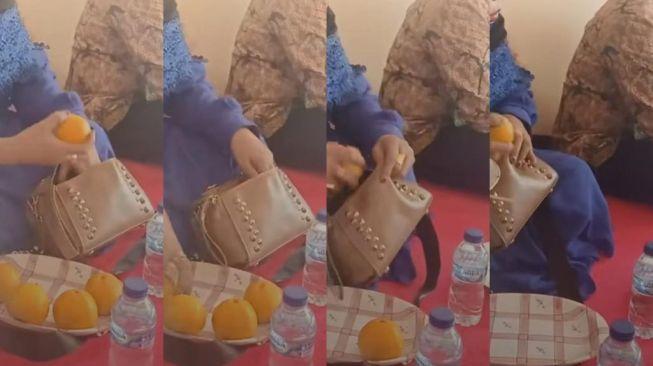 Viral video TikTik Ibu-ibu Gasak Jeruk Sampai Ludes (Screen grab TikTok/adenita29)