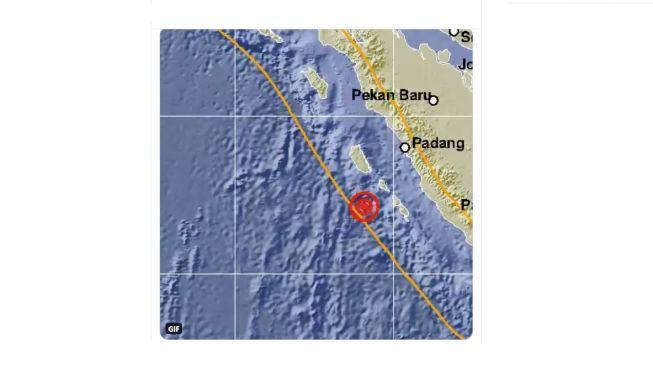Gempa Magnitudo 6,3 di Sumbar, Selasa (17/11/2020). [Twitter/@BMKG}