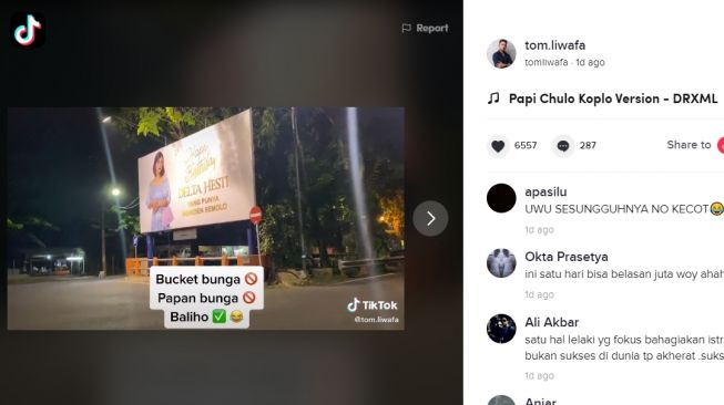 Crazy Rich Surabayan rayakan ultah istri pakai baliho. (TikTok/@tom.liwafa)