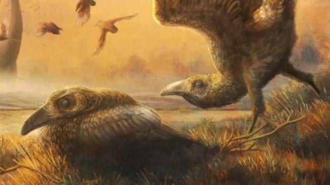 Ilustrasi Falcatakely forsterae hidup dengan dinosaurus [sciencealert.com]