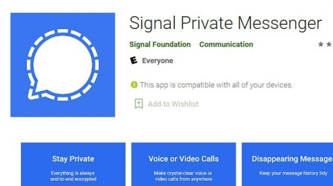 Aplikasi Signal, sebagai ilustrasi [Google Play Store]