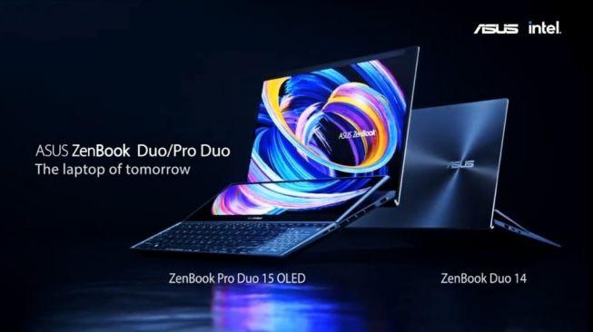 Asus ZenBook Pro Duo 15 OLED dan Asus ZenBook Duo 14. [Screeenshot/Dicky Prastya]