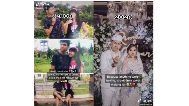 Kisah Rima dan Caesar yang pacaran 12 tahun dan akhirnya menikah (tiktok.com/@rimaftrr23)