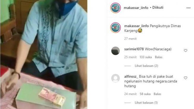 Viral video pria gandakan uang. (Instagram/@makassar_iinfo)