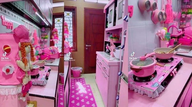 Viral Dapur Wanita Ini Semuanya Serba Warna Pink, Warganet Terpecah. (TikTok/@bebyoliv12)