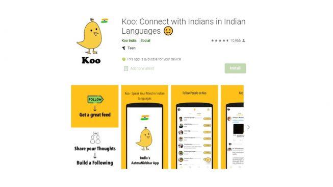 Aplikasi Koo. [Google Play Store]