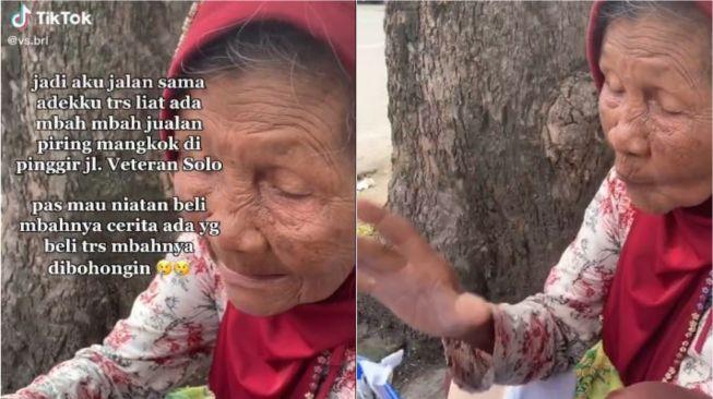 Viral seorang nenek kena tipu pembeli, diberi amplop isi koran. (Tiktok/@vs.brl)