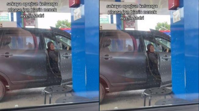 Seorang nenek menyetir mobil sendiri. (Tiktok/@depi.ku)