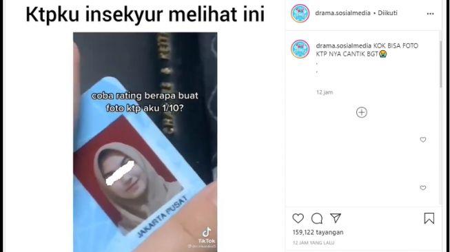 Viral foto KTP gadis parasnya bening, publik tak percaya diri (Instagram/drama.sosialmedia).