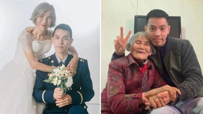 Viral Foto Pernikahan Nenek dan Lelaki Muda. (Oriental Daily)