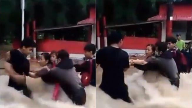 Pemuda evakuasi korban banjir. (Instagram/memomedsos)