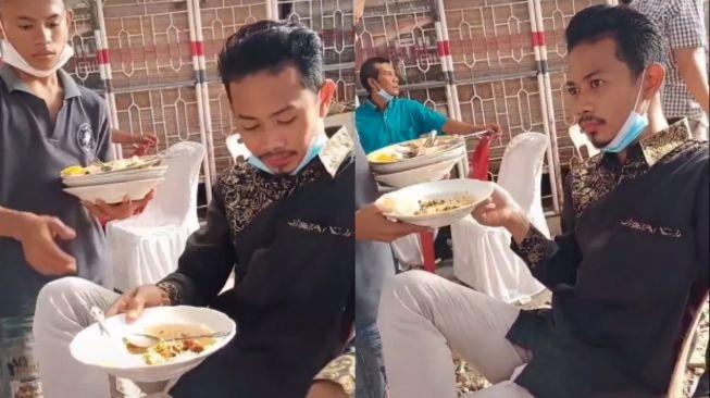 Pria asal ambil piring, padahal belum selesai makan. (Tiktok/@ahyarefendi)