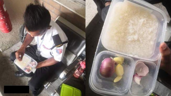 Viral satpam makan pakai nasih berkuah dan lauk bawang mentah 2 (Facebook/ApidLid).