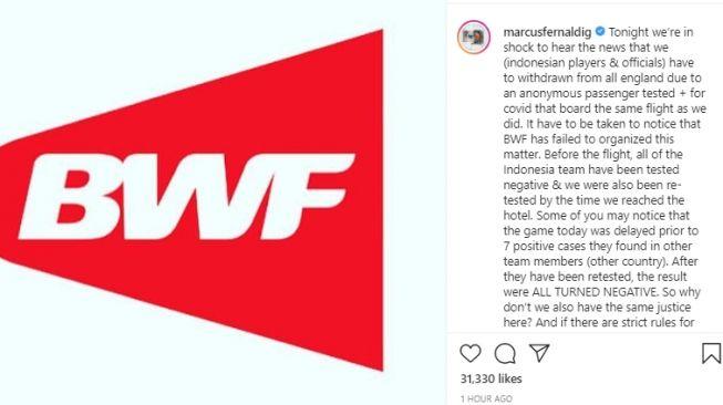 Unggahan Marcus Gideon tentang All England 2021. [Instagram/@marcusfernaldig]