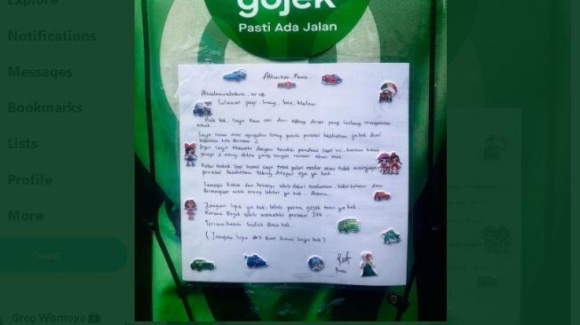 Surat dari istri driver ojol untuk para penumpang (twitter.com/@ustadchen)