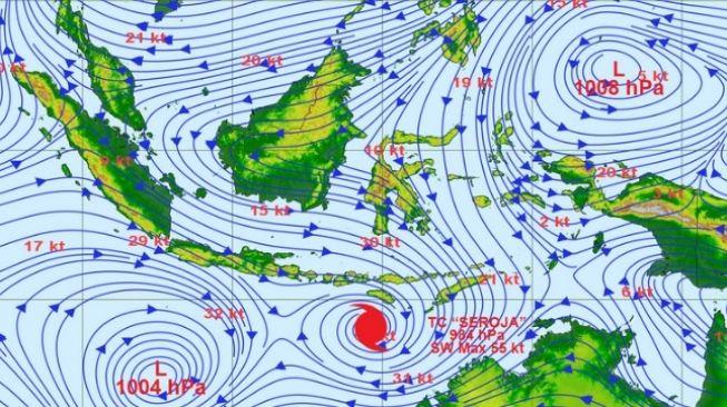 Prediksi posisi Siklon Tropis Seroja pada 6 April 2021. [BMKG]