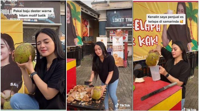 Viral Video Penjual Es Kelapa Muda Bikin Salah Fokus (TikTok/Dianaelasari)