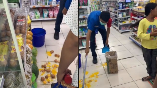 Bocil pecahkan telur di minimarket. (Tiktok/@rikkatarigan)