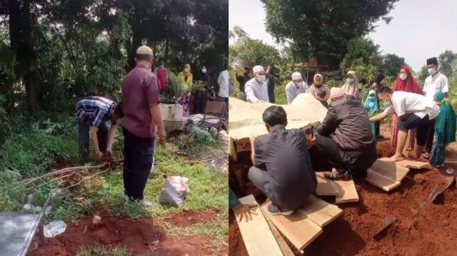 Bapak-bapak panen singkong di kuburan. (Tiktok/@alghifari966)