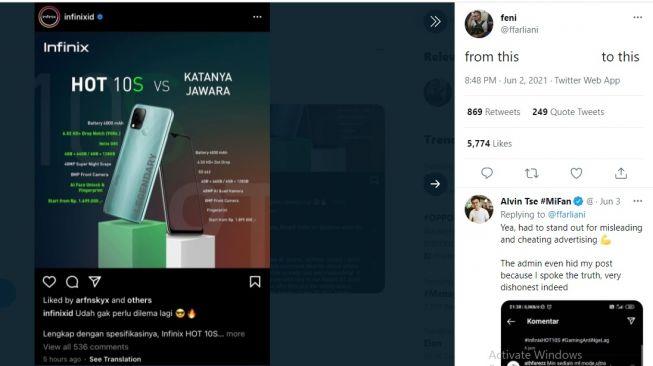 Cuitan netizen soal iklan Infinix. [Twitter]