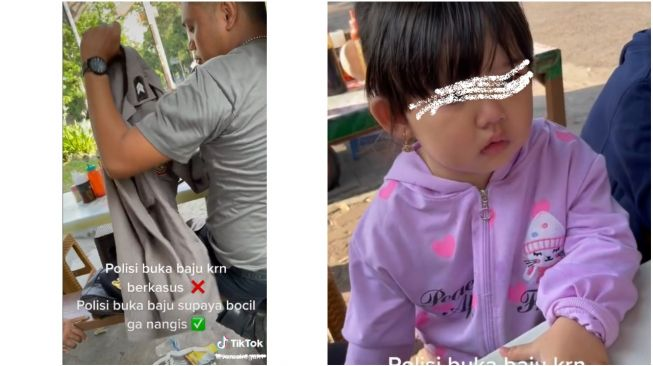 Ditangisi Bocah Karena Takut, Polisi Rela Lepas Seragam di Warung Makan (TikTok)