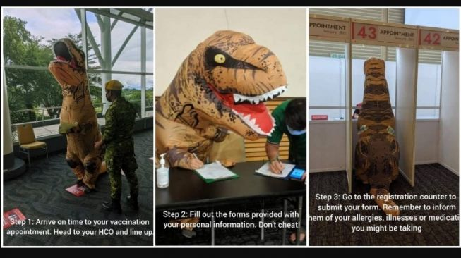 Seorang pria di Malaysia rela pakai kostum dinosaurus saat mendatangi pusat vaksin Covid-19.[Facebook/Borneo Convention Centre Kuching (BCCK)]