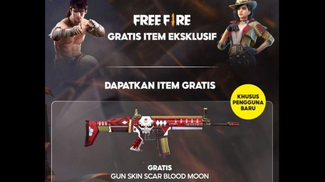 Cara dapat kode redeem FF free fire gun scar blood moon (Shopee)