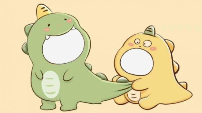 Cara Membuat Twibbon Dino Kuning dan Dino Hijau yang Viral di TikTok (twibbonize/Yulita Irine)