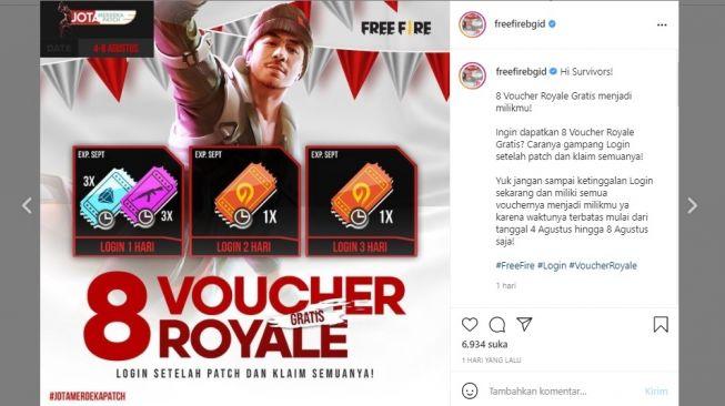 Cara dapat voucher gratis Free Fire, event Merdeka Patch (instagram/freefirebgid)