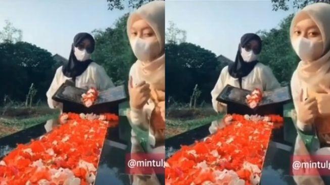 Viral Dua Perempuan Joget TikTok di Makam Tuai Kecaman. (Instagram/@mintulgemintul)