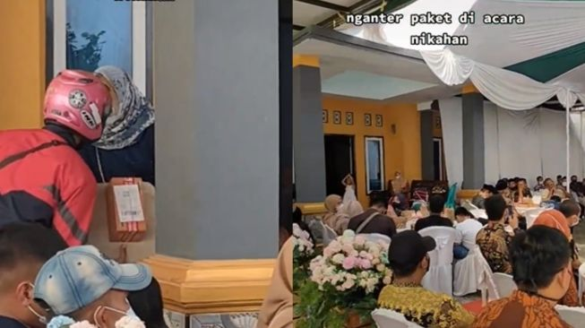 Kurir antar paket saat pesta pernikahan. (Tiktok/@ulin.majalengka)