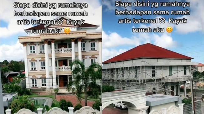 Wanita pamer rumah mewah yang disebut milik artis terkenal.(Tiktok/@bukanmamak.muda69)