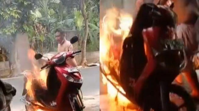 Viral motor terbakar saat diservis di bengkel. (Tiktok)