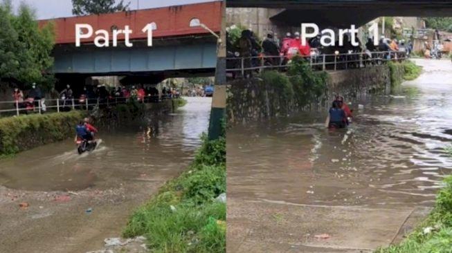 Dua Sejoli Nekat Terjang Banjir Naik Sepeda Motor, Endingnya Menahan Malu (TikTok)