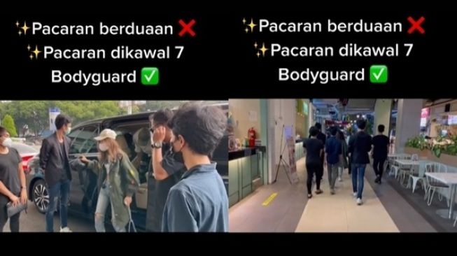 Viral Cewek Pacaran Dikawal 7 Bodyguard. (TikTok)