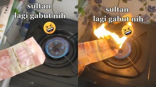Viral Sultan Gabut Bakar Uang Pakai Kompor. (TikTok)