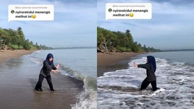 Viral Aksi Cewek Di Tepi Pantai Disorot. (TikTok)