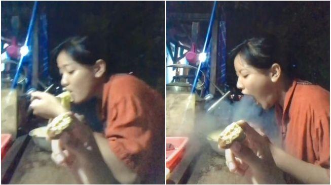 Viral Wanita Semburkan Asap Panas Saat Makan Mie (TikTok)