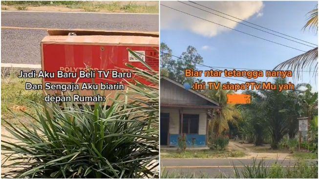 Wanita Taruh TV Baru di Pinggir Jalan Biar Ditanya Tetangga, Endingnya Tak Terduga (TikTok)