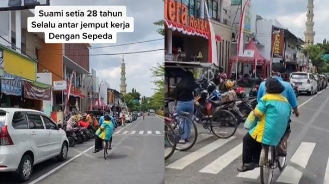 Video Suami Setia Antar Istri Kerja Naik Sepeda Selama 28 Tahun. (TikTok)