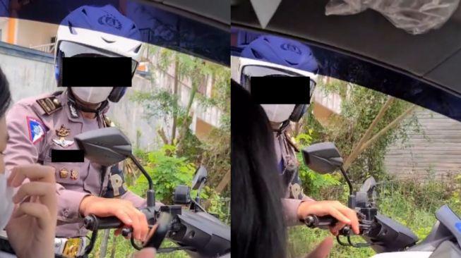 Wanita mendadak disetop polisi saat nyetir mobil. (Tiktok)