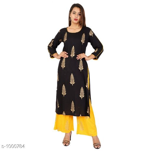 Kurta Sets Magnificent Women Kurta Set  *Fabric* Kurti - Rayon, Palazzo  *Sleeves* 3/4 Sleeves Are Included  *Size* Kurti - L - 40 in, XL - 42 in, XXL - 44 in Palazzo  *Type* Stitched  *Length* Kurti Up To 46 in, Palazzo  *Description* It Has 1 Piece Of Kurti With Palazzo  *Work* Kurti - Printed, Palazzo  *Sizes Available* L, XXL   Catalog Rating: ★4 (131) Supplier Rating: ★4.2 (2764) SKU: Black Gold Kurta Palazzo Set Free shipping is available for this item. Pkt. Weight Range: 400  Catalog Name: Aahlada Designer Women Kurta Sets Vol 5 - Pink City Se Singh Clothing Code: 036-1000784--686