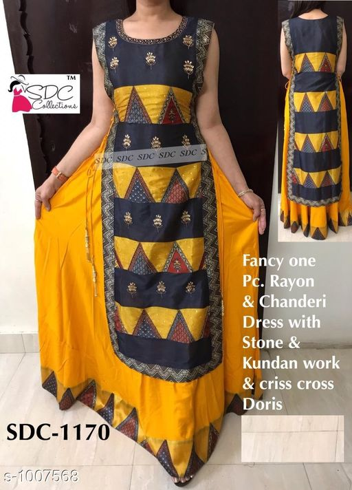 Kurtis & Kurtas Trendy Women's Kurti  *Fabric* Rayon & Chanderi  *Sleeves* Sleeves Are Not  Included  *Size* 3XL - 48 in, 4XL - 50 in, 5XL - 52 in,  *Length* Up To 56 in  *Type* Stitched  *Description* It Has 1 Piece Of Kurti  *Work* Stone & Kundan Work  *Sizes Available* XXXL, 4XL, 5XL   Catalog Rating: ★4.5 (34) Supplier Rating: ★4.3 (4040) SKU: SDC_ 1170 Shipping charges: Rs1 (Non-refundable) Pkt. Weight Range: 400  Catalog Name: SDC Fashionable Kurtis Vol 10#Re1shipping - SDC Code: 0591-1007568--1202