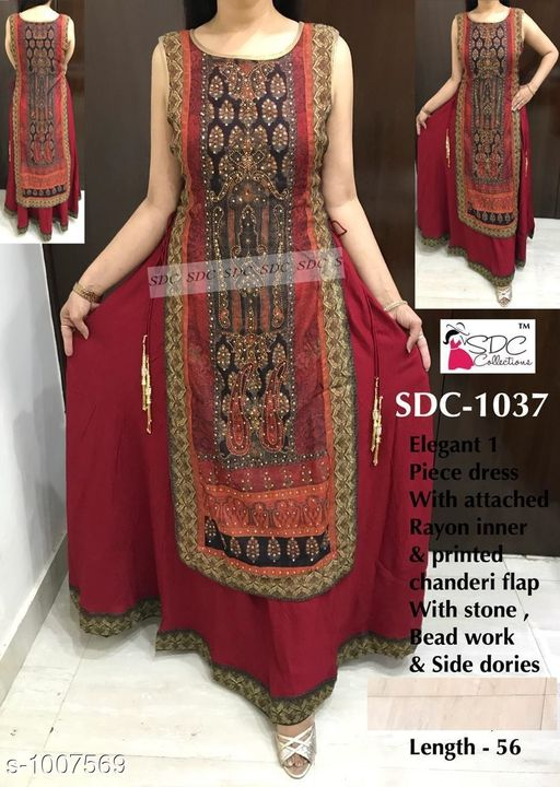 Kurtis & Kurtas Trendy Women's Kurti  *Fabric* Rayon  *Sleeves* Sleeves Are Not  Included  *Size* 3XL - 48 in, 4XL - 50 in, 5XL - 52 in,  *Length* Up To 56 in  *Type* Stitched  *Description* It Has 1 Piece Of Kurti  *Work* Stone & Beads Work  *Sizes Available* XXXL, 4XL, 5XL   Catalog Rating: ★4.5 (34) Supplier Rating: ★4.3 (4040) SKU: SDC_ 1037 Shipping charges: Rs1 (Non-refundable) Pkt. Weight Range: 400  Catalog Name: SDC Fashionable Kurtis Vol 10#Re1shipping - SDC Code: 0091-1007569--1791