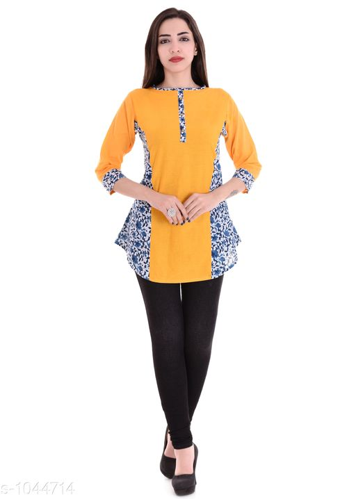 Kurtis & Kurtas Elegant Women's Short Kurti  *Fabric* Cotton  *Sleeves* 3/4 Sleeves Are Included  *Size* M- 38 in, L - 40 in, XL - 42 in, XXL - 44 in  *Length* Up To 28 in  *Type* Stitched  *Description* It Has 1 Piece Of Short Kurti  *Work* Printed  *Sizes Available* L   Supplier Rating: ★4.1 (3065) SKU: BS-KT114 Shipping charges: Rs49 (Non-refundable) Pkt. Weight Range: 300  Catalog Name: Charumati Elegant Women's Short Kurtis Vol 1 - JAISJ Code: 912-1044714--