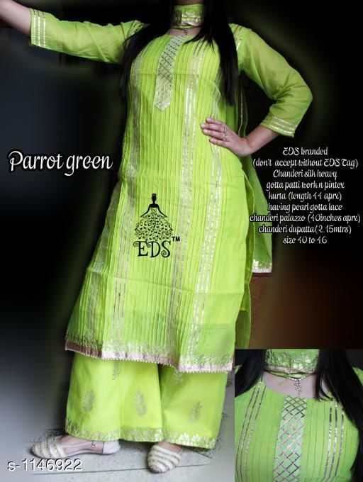 Kurta Sets Designer Chanderi Silk Kurta Set  *Fabric* Kurti - Chanderi Silk, Palazzo - Chanderi, Duppata - chanderi  *Sleeves* 3/4th Sleeves Are Included  *Size* Kurti - M - 40 in, L - 42 in, XL - 44 in, XXL - 46 in, Palazzo- M - 32 in, L - 34 in, XL - 36 in, XXL- 38 in    * Length* Kurti- Up To 44 in, Palazzo - Up To 40 in, Dupatta - 2.15 Mtr    * Type* Stitched    * Description* It Has 1 Piece Of Kurti With 1 Piece Of Palazzo & 1 Piece Of Dupatta    * Work* Gota Patti Work  *Sizes Available* M, L   Catalog Rating: ★4.2 (5) Supplier Rating: ★4.2 (3420) SKU: DCSKS-3 Free shipping is available for this item. Pkt. Weight Range: 400  Catalog Name: EDS Fancy Chanderi Silk Kurta Sets Vol 2 - EDS Fashions Code: 5651-1146922--