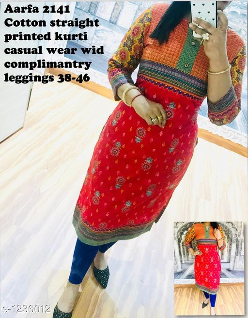 Kurta Sets Elegant Designer Kurti  *Fabric* Kurti - Cotton, Leggings - Cotton  *Sleeves* Sleeves are Included  *Size* Kurti - S - 38 in, M - 40 in, L - 42 in, XL - 44 in, XXL - 46 in, Leggings - S - 28 in,  M - 30 in, L- 32 in, XL  - 34 in, XXL - 36 in  *Length* Kurti - UP To 46 in, Leggings - Up To 38 in            *Type* Stitched  *Description* It has 1 Piece Of Kurti With Leggings  *Work* Kurti - Printed, Leggings - Solid  *Sizes Available* S, M, L, XL, XXL   Catalog Rating: ★2.8 (4) Supplier Rating: ★4 (3777) SKU: AArfa 2141 Free shipping is available for this item. Pkt. Weight Range: 400  Catalog Name: Aarfa Elegant Designer Kurtis Vol 4 - Aarfa Kurtis Code: 0701-1236012--