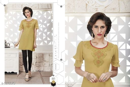 Kurtis & Kurtas Pretty Georgette Women's Short Kurti  *Fabric* Outer - Georgette, Inner - Santoon  *Sleeves* Sleeves Are Included  *Size* XL- 42 in  *Length* Up To 28 in  *Type* Stitched  *Description* It Has 1 Piece Of Women's Short Kurti  *Work* Embroidered  *Sizes Available* XL   Catalog Rating: ★4 (4) Supplier Rating: ★4 (56) SKU: 9901 Free shipping is available for this item. Pkt. Weight Range: 300  Catalog Name: Diva Pretty Georgette Women's Short Kurtis Vol 1 - Anuradha B Code: 967-1316375--