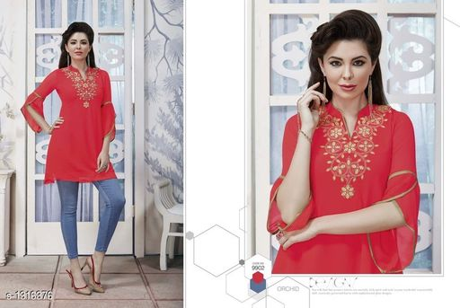 Kurtis & Kurtas Pretty Georgette Women's Short Kurti  *Fabric* Outer - Georgette, Inner - Santoon  *Sleeves* Sleeves Are Included  *Size* XL- 42 in  *Length* Up To 28 in  *Type* Stitched  *Description* It Has 1 Piece Of Women's Short Kurti  *Work* Embroidered  *Sizes Available* XL   Catalog Rating: ★4 (4) Supplier Rating: ★4 (56) SKU: 9902 Free shipping is available for this item. Pkt. Weight Range: 300  Catalog Name: Diva Pretty Georgette Women's Short Kurtis Vol 1 - Anuradha B Code: 967-1316376--